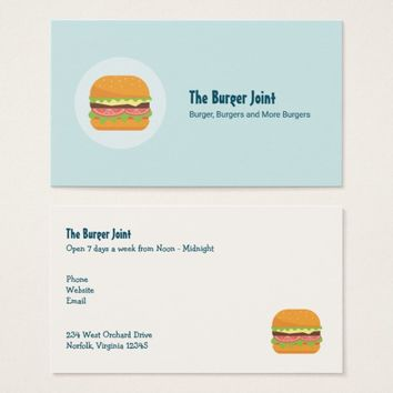 Hamburger Illustration with Tomato and Lettuce Business Card