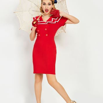 Chicloth Red Sailor Collar Botton Bodycon Dress