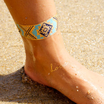 Gold Temporary Tattoo, Metallic Tattoo Sheet, Metallic Tatt, Shine Tattoo, Gold Tattoo, Tribal Tattoo, One Sheet of Metallic Tattoos