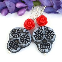 Sugar Skull and Red Rose Earrings, Czech Glass Handmade Day of the Dead Halloween Jewelry