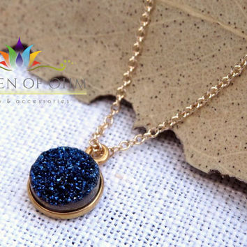 Pretty Blue Druzy Charm Necklace Bezeled in Gold, Minimalist, Druzy Gemstone, Layering Necklace, Drusy Quartz Necklace, Everyday Necklace