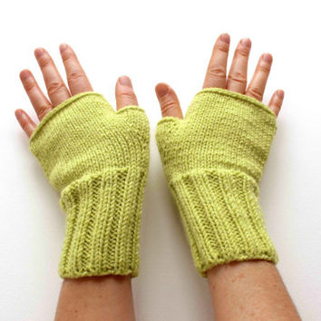 Hand Knit Fingerless Gloves / Medium size fits most. / Autumn Colored / green / Winter Fashion / Arm Warmes