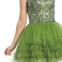Multi-Colored Jewel Accented Bodice Short Prom Dress