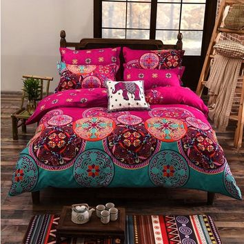 Cool Luxury Twin Full Queen King Size Soft 3 Pcs Duvet Cover Fiber Pink Blue Hit Color Flowers Ethnic Prints Quilt Cover OnlyAT_93_12