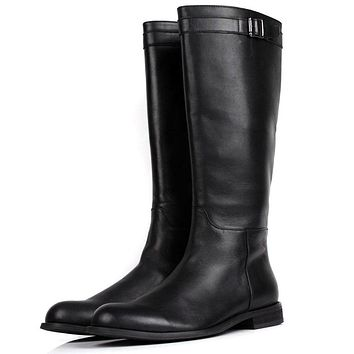 LOISWORD Large size EUR45 slim zipper knee high mens boots genuine leather motorcycle boots fashion mens winter boots
