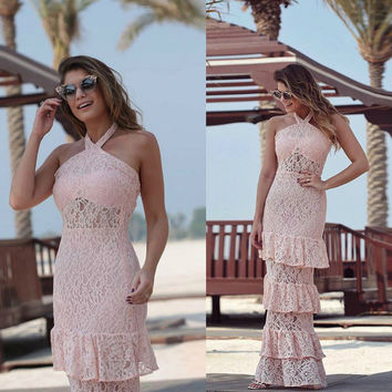 Lace Cake Long Pink Sleeveless Prom Dress [9284389956]