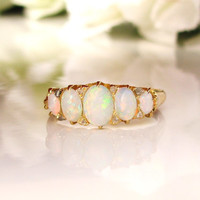 Antique Opal Engagement Ring 18Ct Gold Victorian Five Stone Opal & Diamond Accent Wedding Band October Birthstone Ring Size 7!