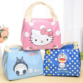 New Portable  Cartoon Cute Hello Kitty Lunch Bag Insulated Cold Canvas  Picnic Totes Carry Case For Kids Women Thermal Bag