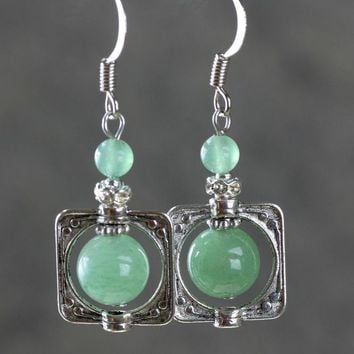 Jade stone square frame drop dangle earrings Bridesmaids gifts Free US Shipping handmade Anni Designs
