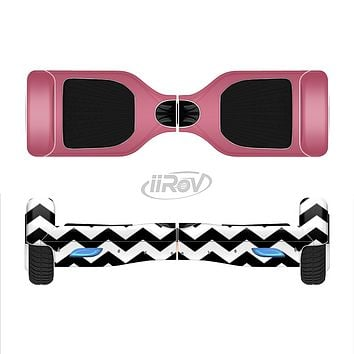 The Solid Pink with Black & White Chevron Pattern Full-Body Skin Set for the Smart Drifting SuperCharged iiRov HoverBoard