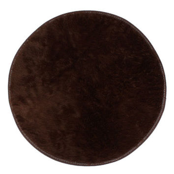 60cm Soft Plush Non Slip Round Mat Pure Colour Home Floor Carpet Bedroom Shaggy Rug