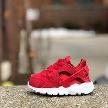 KUYOU Nike Huarache Run TD Gym Red Dark Grey Infants 704950-604