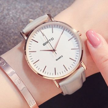GIMTO Ladies Watch Women 2017 New Women Leather Bracelet Watches Fashion Casual Top Luxury Brand Womens Watches Gold Wrist Watch