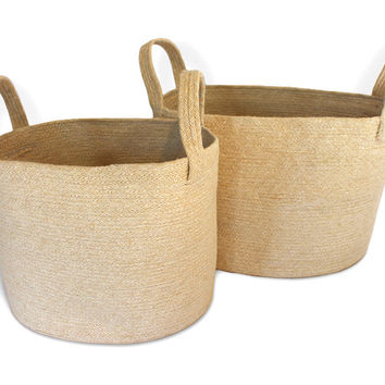 JUT005-BWT:  Oval Laundry Tote Basket (set of 2) with Loop Handle