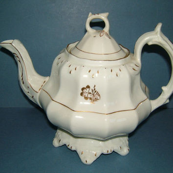 Delightful Victorian Staffordshire Teapot in Classical White with Gold Trim
