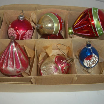 Vintage and Not So Vintage Christmas Ornaments - Set of 7