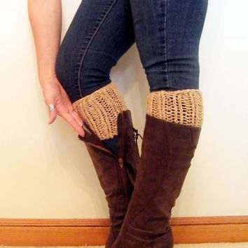 Women's Knit Boot Cuffs, Chunky Boot Cuffs, Cotton and Wool Women Boot Toppers,  Faux Leg Warmers, Soft Chunky and Thick/ Ready to Ship