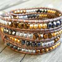 Beaded Leather Wrap Bracelet 4 Wrap with Metallic Bronze Gold Hematite and Silver Czech Glass Beads on Brown Leather Fall Bracelet