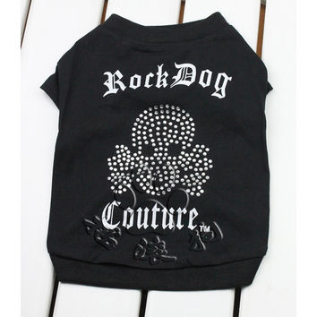 New 2016 Pet Products Rock Dog Bling Dog Clothes Summer clothing for small dogs Shirt Skull Rhinestone Cotton Clothing Vest