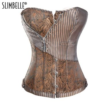 Women Steampunk Gothic Waist Trainer Corset Striped Lace up Burlesque Punk Overbust Corset Waist Cinchers Corsets and Bustiers