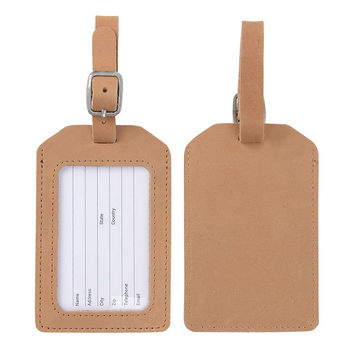 Genuine Leather Luggage Tag Brown Color for Travel Business Suicase Tag Bag Tags with Name Card Sets Travel Accessories