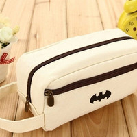 Creative Student Canvas BatMan Pencil Case Cosmetic Makeup Bags Pen Bag (Color: Beige) = 1927889284