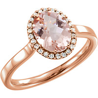 14kt Rose Gold Morganite & 1/8 CTW Diamond Halo Ring