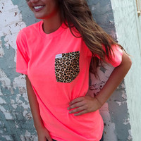 Everyday Cheetah Tee - Neon Coral | The Rage