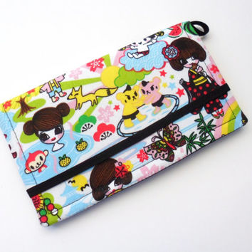 Cell Phone Case, Kawaii Japanese Fabric Wallet, Geisha iPhone Clutch - Coral and Black