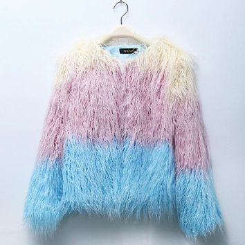 Faux Fur Coat Mix Color Long Sleeve Female Shaggy Jacket Winter Slim Elegant Fashion Outerwear Jacket Ladies Coats#C822