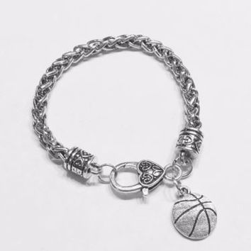 Basketball Sports Mom Daughter Valentine Gift Charm Bracelet