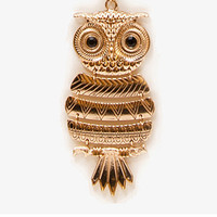Etched Owl Pendant Necklace