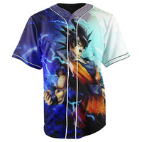Goku Dragon Ball Z Blue Button Up Baseball Jersey