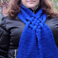 blue cowl scarf winter scarf knitted scarf fashion knit scarf circle scarf unique scarf Xmas gift scarf with knot woven scarf gift for mom
