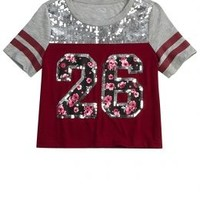 Sequin Football Tee | Girls Short Sleeve Tops | Shop Justice