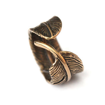 Raven Feather Bypass Ring cast in solid bronze