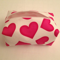 Handmade makeup bag white with pink hearts by Makeupbagsbysarah