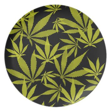 Ganja weed pot grass marihujana pattern yellow plate