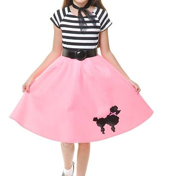 Charades Child's Costume Poodle Skirt, Pink, Medium