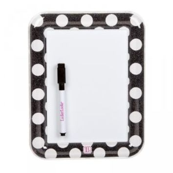 Lockerlookz Dry Erase Board - Black & White Polka Dot