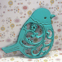 Bird Flower Cast Iron Trivet Hot Plate Bright Turquoise Blue Distressed Shabby Chic Ornate Swirly Chunky Bird Kitchen Country Chic Decor