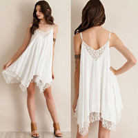 SIMPLE - Trending Fashion Chiffon Floral Sexy Strap V Neck Handkerchief Sexy Erotic One Piece Dress b4637
