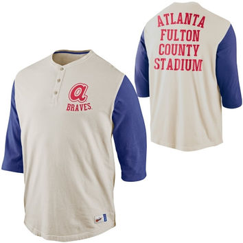 Nike Atlanta Braves Cooperstown Collection Old School Washed Three-Quarter Sleeve Henley - Natural