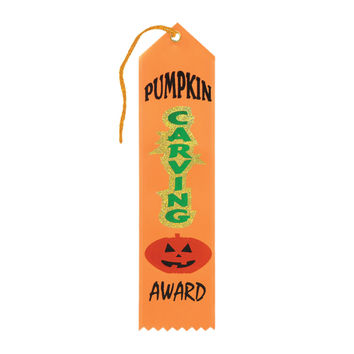 "Beistle Halloween Celebration Birthday Party Pumpkin Carving Award Ribbon 2"""" x 8"""" Pack of 6"