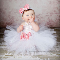 Flower Double Layers Fluffy Baby Dress Purple White Pink Baby Girls Tutu Dress With Headband Birthday Sets For Baby  PT46