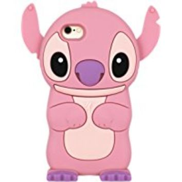 iPhone 6S Case, MC Fashion Cute 3D American Cartoon Character Stitch Angel Protective Silicone Phone Case Compatible for Apple iPhone 6/6S (Stitch-Pink)