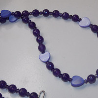 25% OFF SALE Purple Heart Necklace and Earrings
