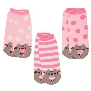 Pusheen The Cat Polka Dots And Stripes Women's Ankle Socks - 3 Pack
