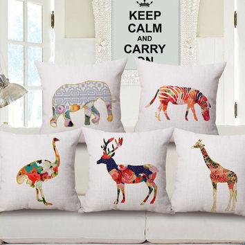 The African Savanna Safari Theme Pillow Case Square Covers Zebra Elephant Giraffe (8 Designs)