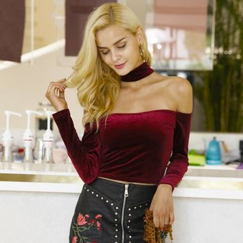 Velvet Choker Crop Top
